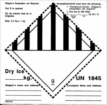 Form for dry ice usage in shipping perishables